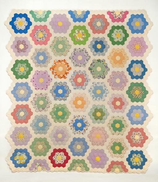 "Grandmother's Flower Garden, 1993 72"" x 79.5"""